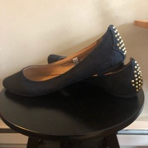 Black Flats with Gold Punk Spike on back